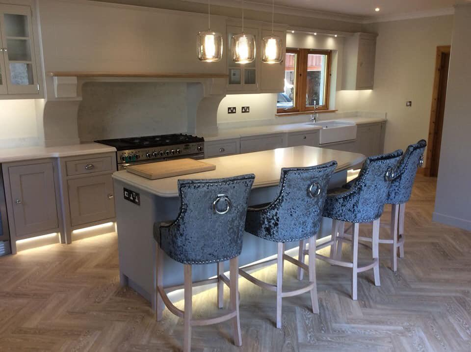 Here's a stunning kitchen we designed made and fitted this year, pictures speak for themselves. Quartz worktops painted in purpeck stone from F & B.  Utility post to follow.  #kitchen #bespokefurniture  #farrowandball #purpeckstone #quartzworktops