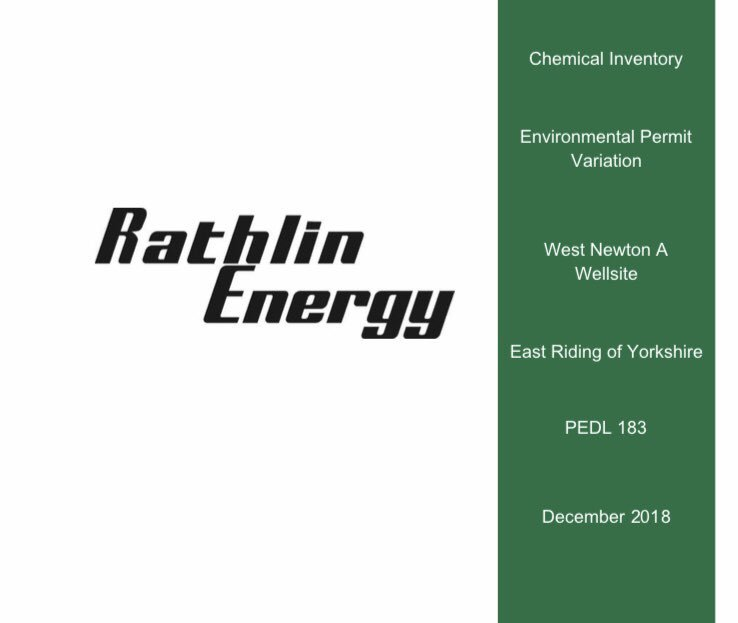 Rathlin Energy want to inject over 17 tonnes of 15% Hydrochloric Acid down the West Newton well.  The Hydrochloric acid supplied by Schlumberger is corrosive to metals and can contaminate water & soil if it escapes.