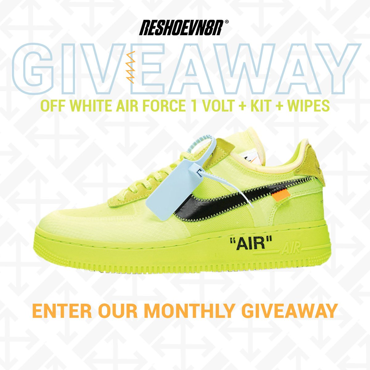 New month! New giveaway! In February we are giving away a pair of Off-White Air Force 1 Volts PLUS a 3 Brush Laundry System and a pack of wipes! You don't want to miss your chance to win this prize. To enter visit https://reshoevn8r.com/pages/giveaway and retweet this tweet for an extra entry!