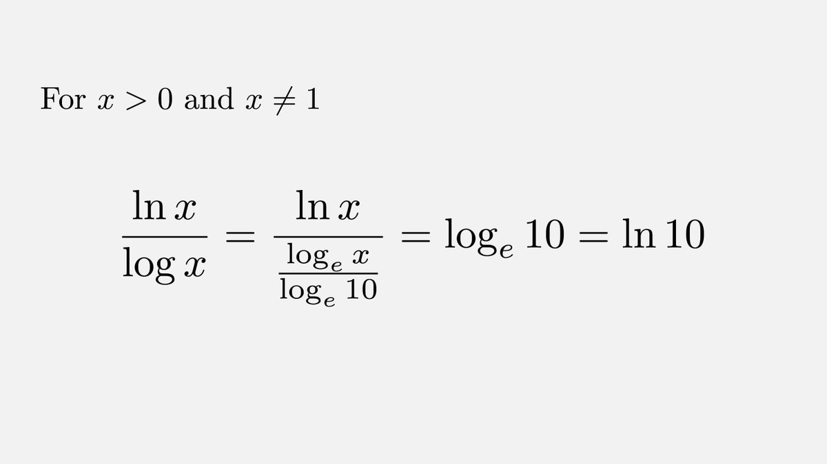 The ratio of ln(x) and log(x) is a constant