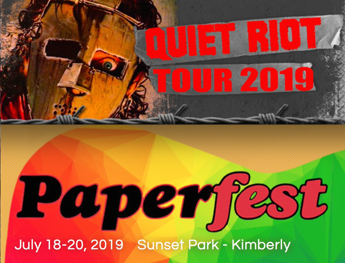 JUST ADDED! QUIET RIOT LIVE!  SATURDAY JULY 20TH @ PAPERFEST IN KIMBERLY WI! GET READY TO BANG YOUR HEADS WITH QUIET RIOT!