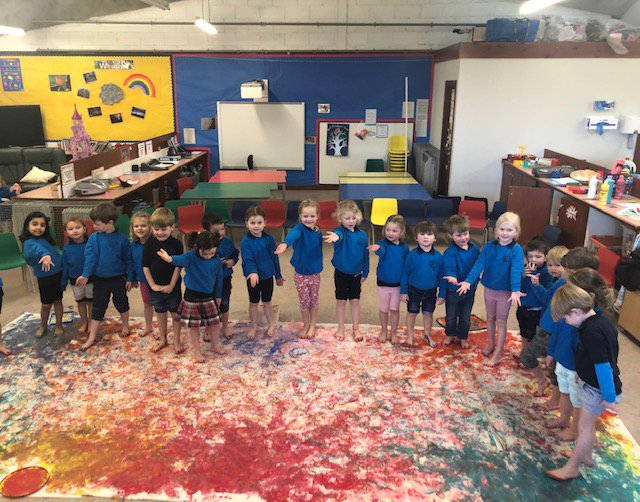 Pre-school pupils have had a fantastic time creating a giant footprints picture. The clearup operation is now under way (and isn't nearly as much fun as the painting!) and we apologise in advance for any paint still lurking between their toes! #creativity #artistic #FridayFun