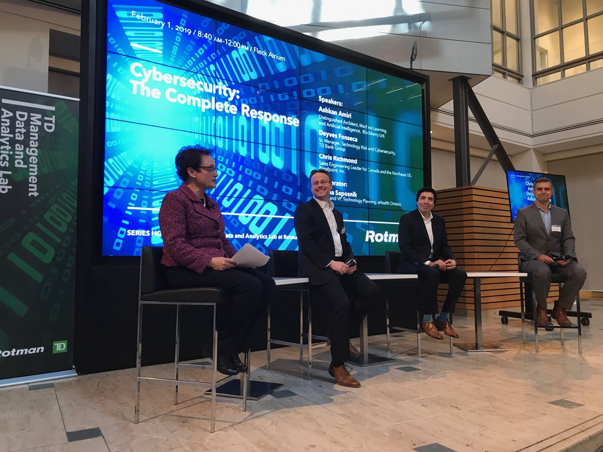 Exciting panel discussion on Cyber security with TD Bank, eHealth, Blackberry and @proofpoint @rotmanschool @UofT @kathyswail