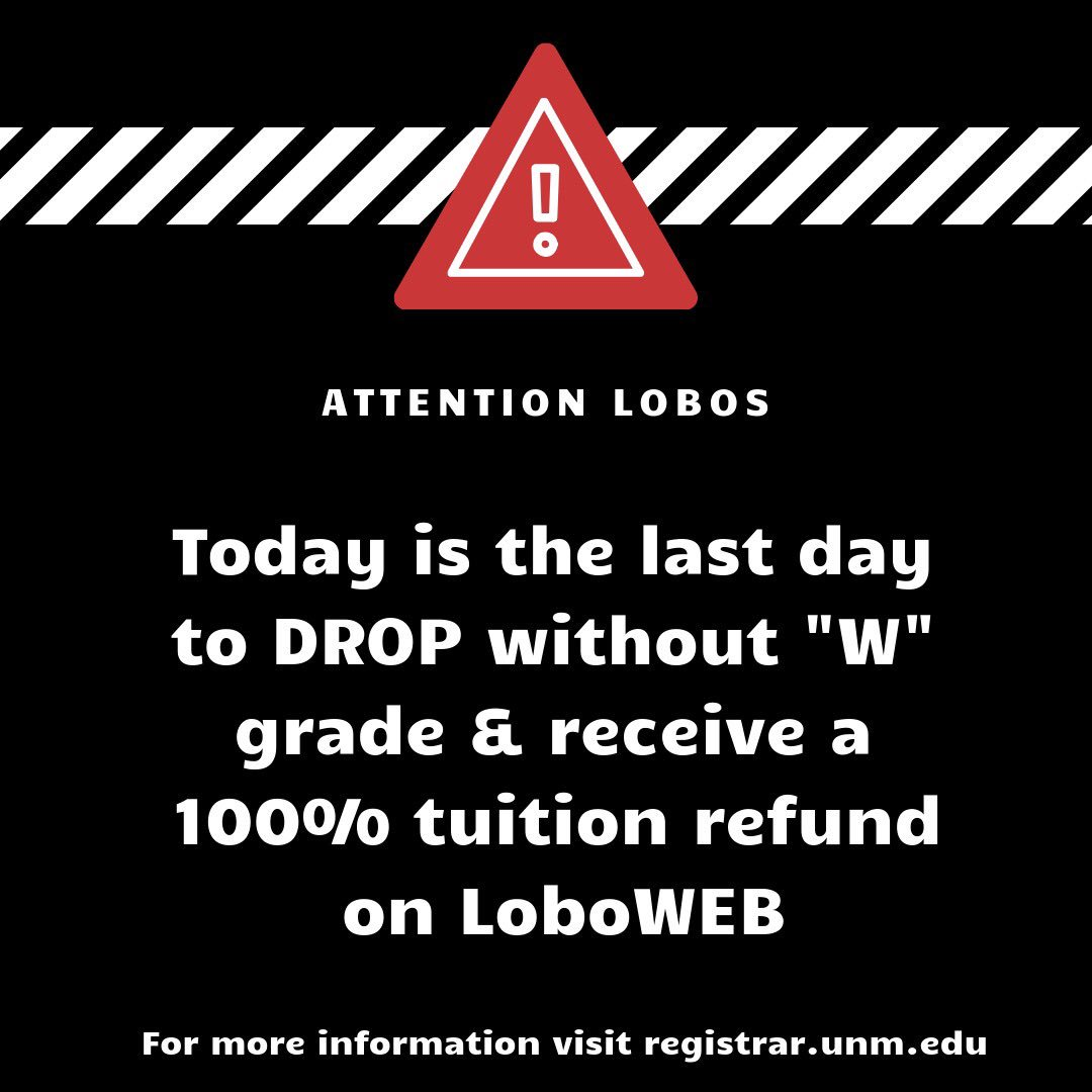 Make sure to drop any classes before 5pm!