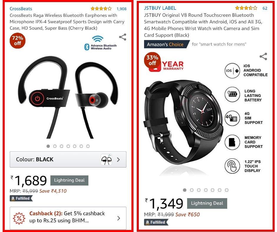 e4932bb17dd Amazon #DealsOfTheDay on 1 Feb'19{Part 2}> #CrossBeats Raga Wireless  Bluetooth Earphones>₹1,689-2,399>https://amzn.to/2D62CGm #JSTBUY Original  V8 Round ...