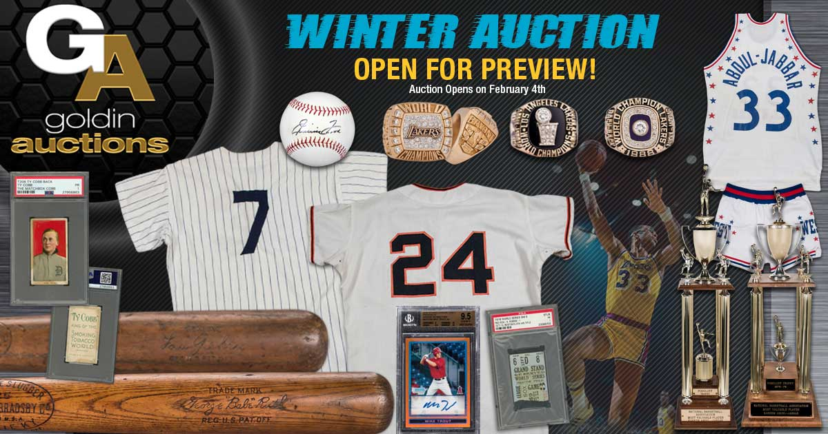 Goldin Auctions 2019 Winter Auction now open for preview! Bidding begins this Monday, February 4th! @PSAcard  @beckett_grading @sgccard @BowmanCards @baseballhall @Steve_Grad @beckett_authent