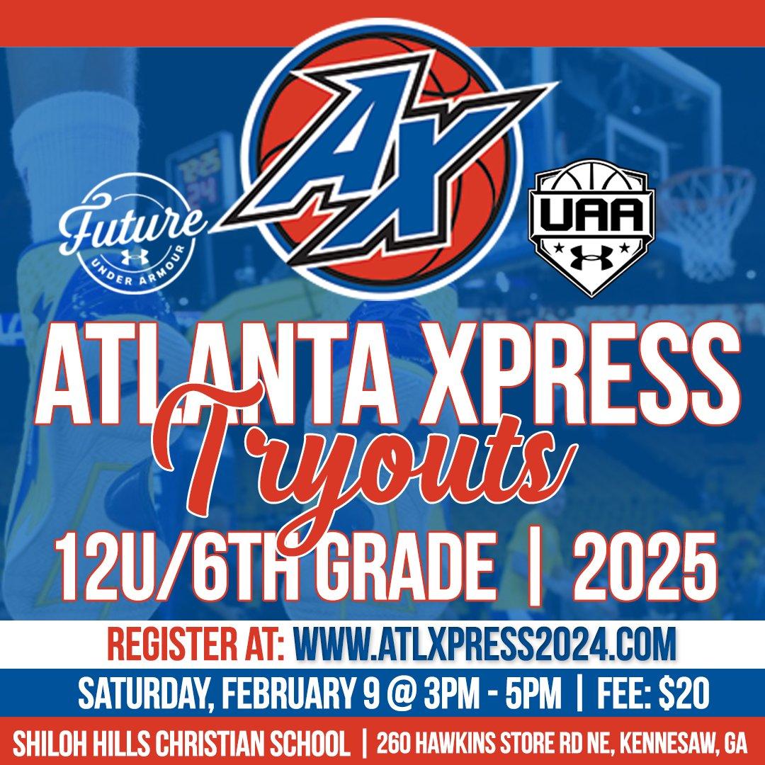 🏀 LET'S GET IT @atlxpress2025 - 12U/6th Grade Tryouts 🔥🔥 ➖➖➖➖➖➖➖➖➖ BRING YOUR AAA+ GAME!!! ➖➖➖➖➖➖➖➖➖ Register via: https://t.co/paMzk5IwP4 #atlantaxpress #uafuture #startyourstory #atlanta #ccjbc https://t.co/j4p5Dcdzzr