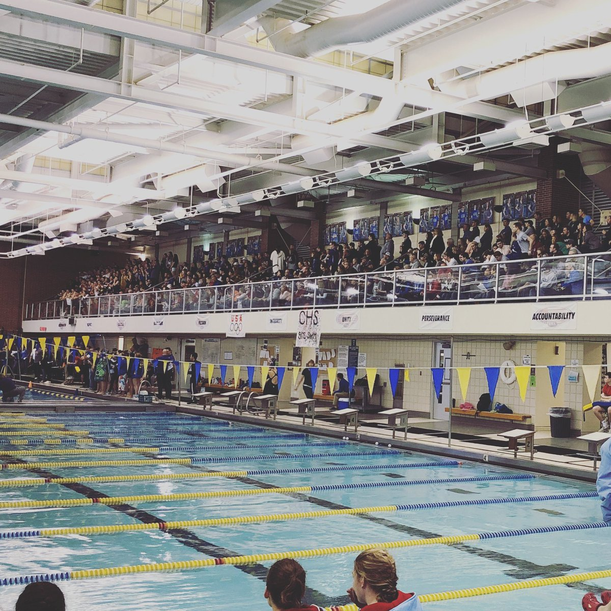 Full house for girls swimming sectional prelims! – at Carmel High School