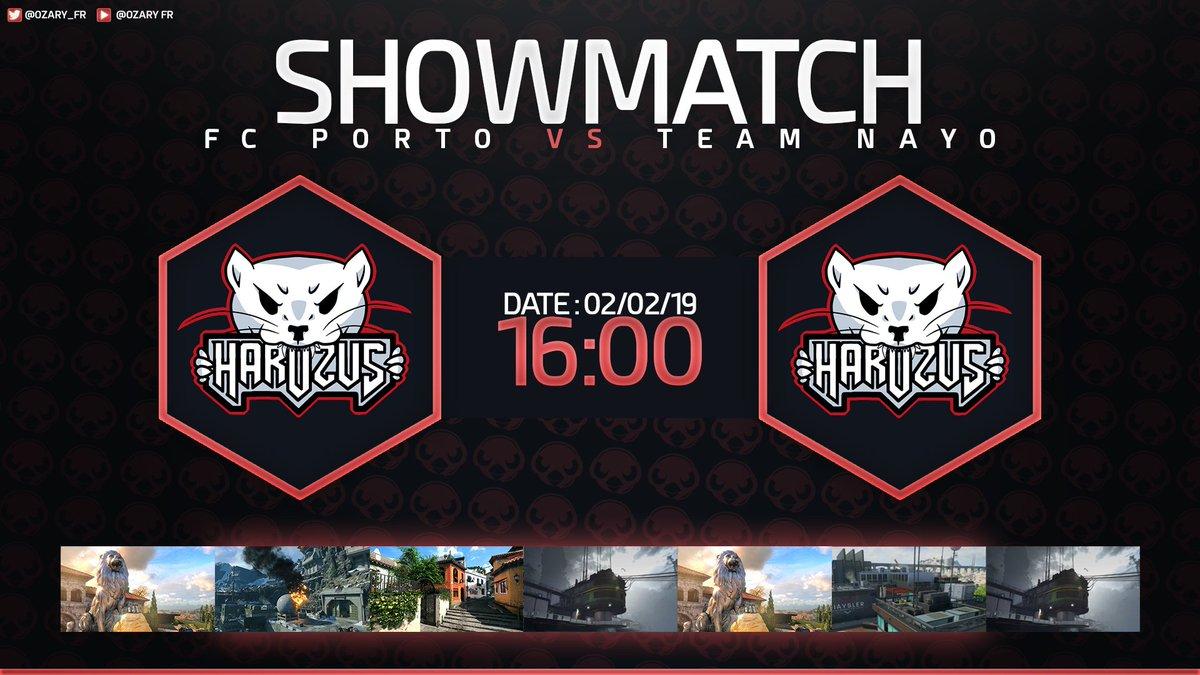🚨 Match Stream  📢 Showmatch @harozus  📅 Samedi 2 Février 2019  🕘 16H  🎮 FC Porto 🆚 Team Nayo 🎮  🎙️ Casté par @Ozary_Fr  🎥 http://www.twitch.tv/ozary_fr   📺 Match retransmit au @WarpZoneVannes