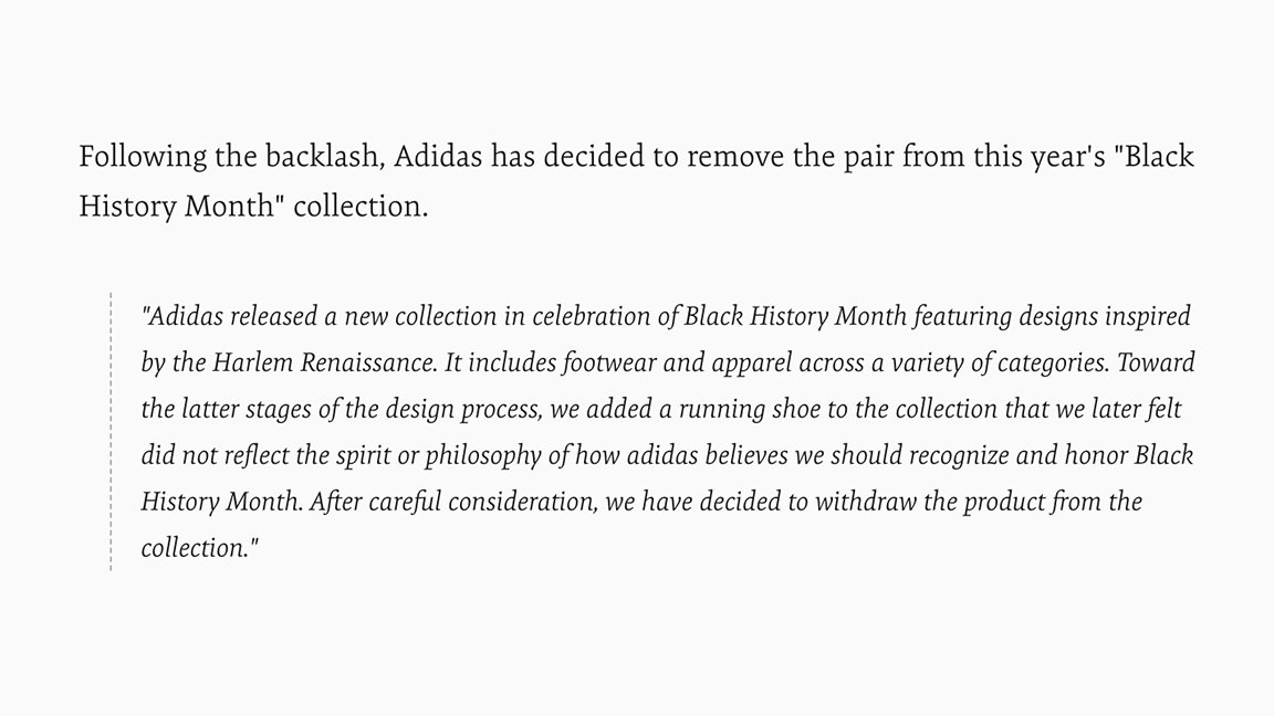 """a0ea85485a0 Official statement from adidas regarding the cancelled """"Celebrating Black  Culture"""" Ultra Boost Uncaged via  ComplexSneakers  ..."""