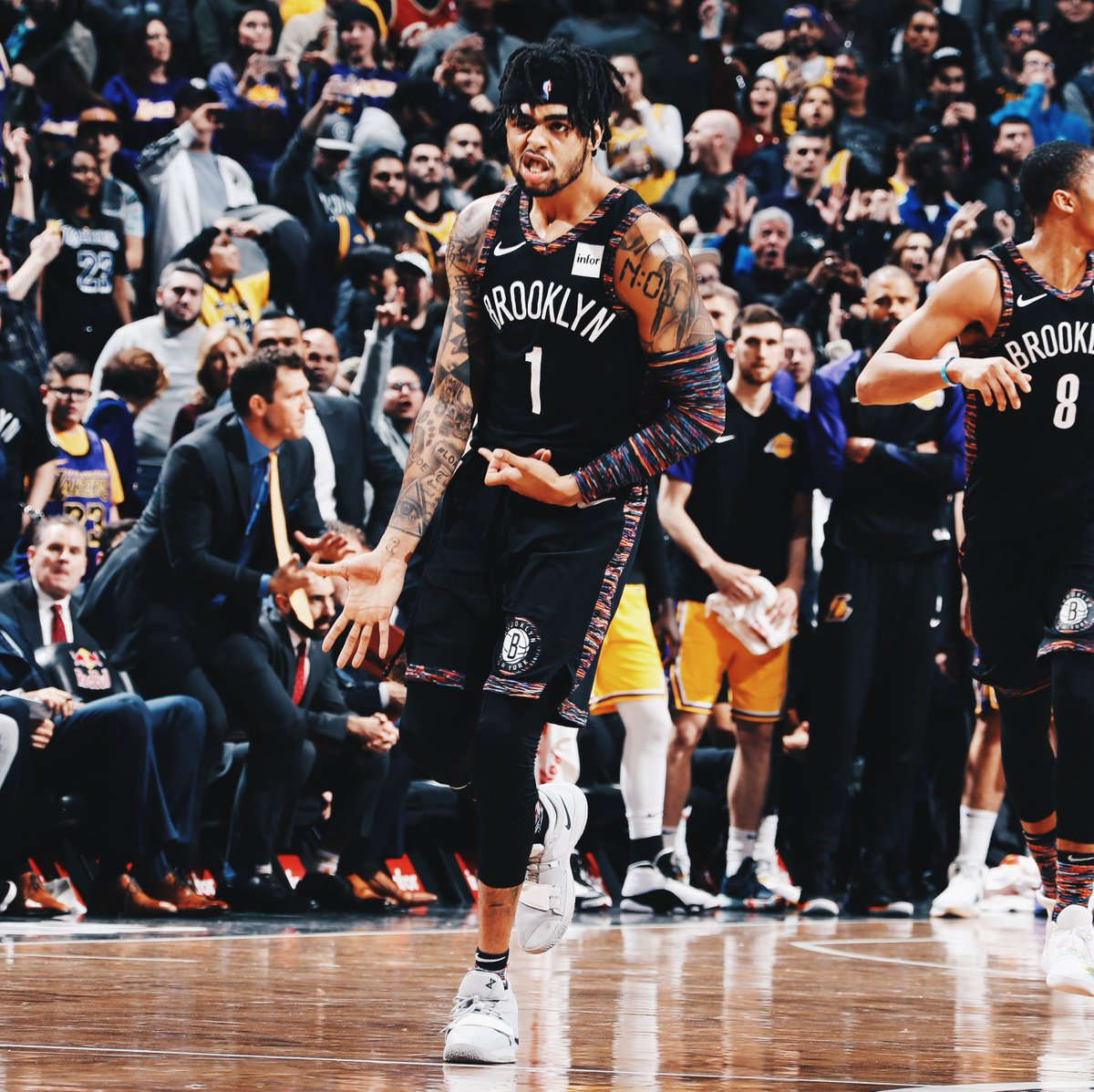 """In 2017, Magic Johnson said the Lakers """"needed a leader"""" and traded D-Lo.  Russell this year: - Career-high PPG (19.6) - Career-high AST (6.4) - Nets in the playoff race - First All-Star berth"""