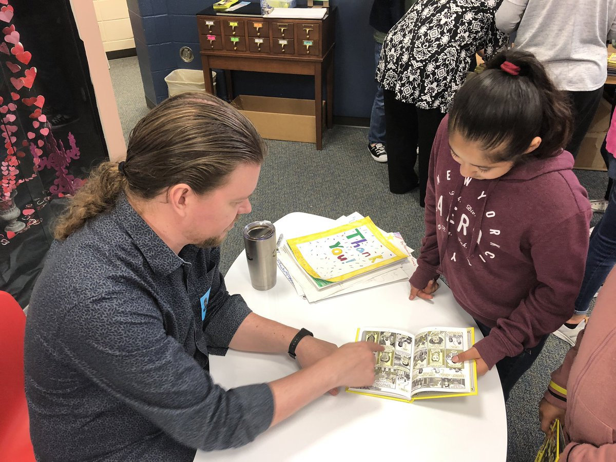 EVERY. I'm so grateful 2B part of @EilandKISD that lives and breathes EVERY.  Today EVERY 3rd, 4th & 5th grader not only got to hear the multi-talented Nathan Hale but he signed EVERY one of their personal copies that they have been reading for the last few weeks.
