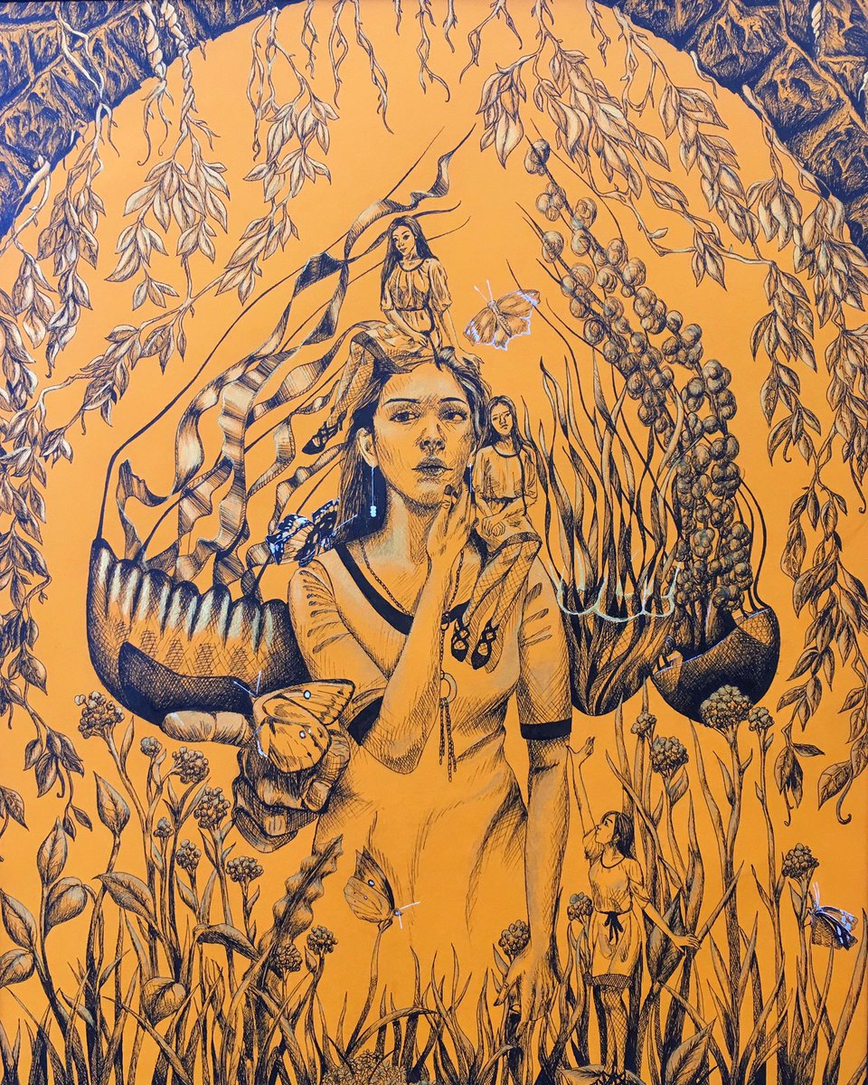 """VASE 2019 Regional is tomorrow! I want to thank each one of my students for doing their best and meeting those deadlines. Good luck tomorrow! Student: Leslie Alvarez, """"The Stuff of Dreams"""", ink & gold acrylic on canson, 21""""x 28"""" #EdgewoodProud #ExcellenceInEdgewood"""