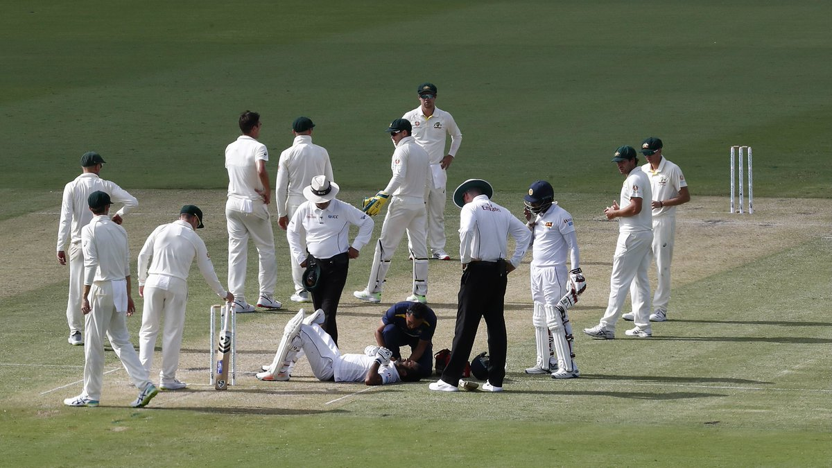 Sri Lanka provide update on Karunaratne after scary hit on day two