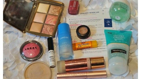 a collection of makeup and skincare products mentioned in my blog post