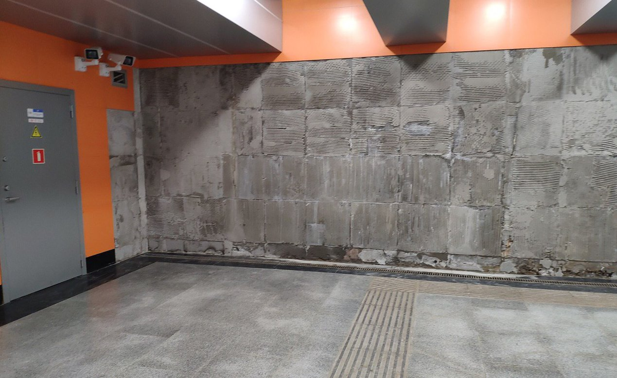 "Станция ""Беговая"" (февраль 2019). Источник: https://pbs.twimg.com/media/DyZ0X_kX4AEELC2.jpg:large"