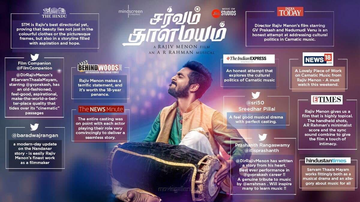Thanks a lot for ur kind words and appreciation it means a lot to us  ...thank u all for the love ... Sarvam thaala mayam has given me a lot ❤️#STMrunningSuccessfully @DirRajivMenon @arrahman @Aparnabala2 @DhivyaDharshini @mindscreencine