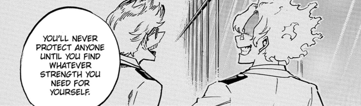 I am really curious to see what this brief flashback panel will lead too. Who's Mr. Flame Hair next to Young Present Mic?! #MHA216