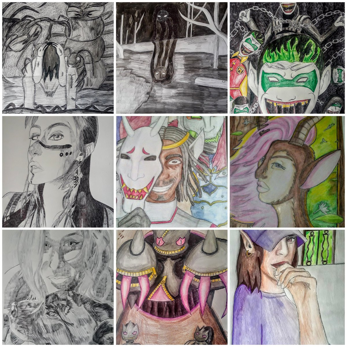 Soooooo I'm kinda cheating with the #ArtvsArtist since I wanna keep a anonymous approach to what I look like but here's mine. The one in the middle is a self portrait sooooo...  *shrug shoulders* 🤷♂️😁 I do horror, anime and some fanart