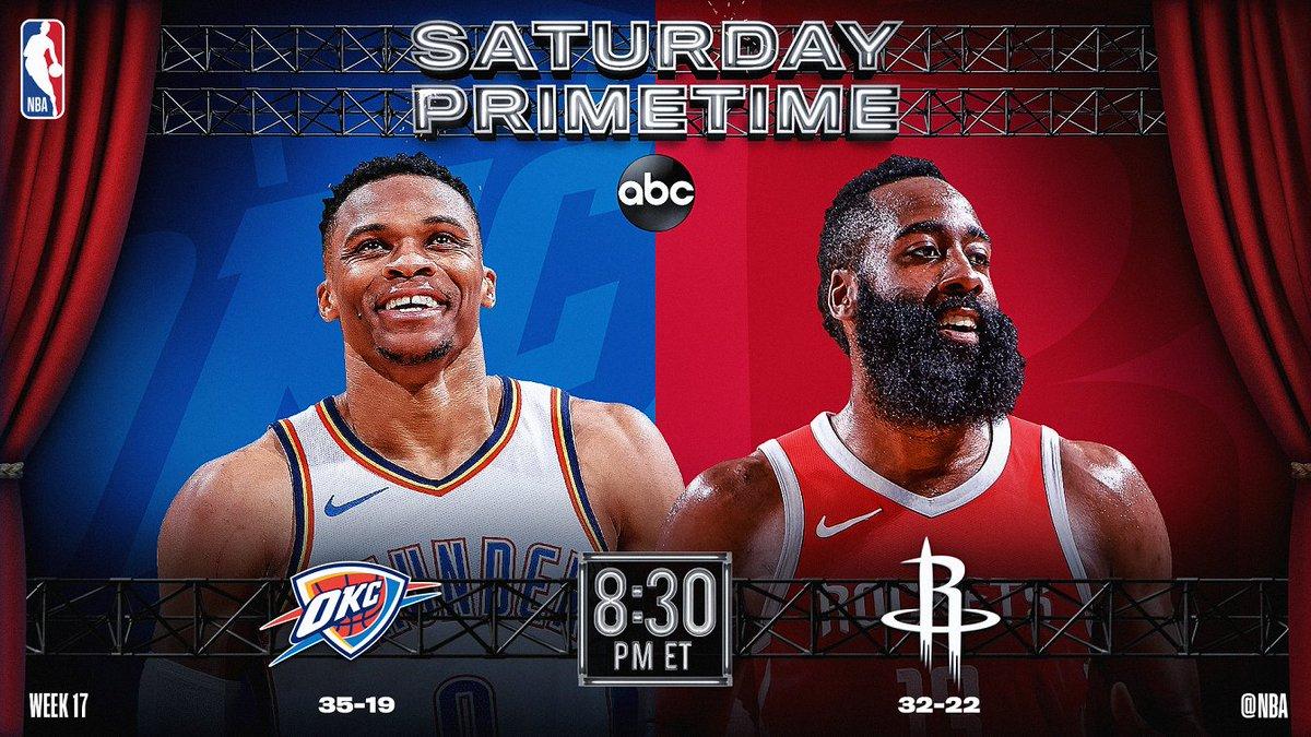 Tonight's #NBAonABC Saturday Primetime action features @okcthunder/@HoustonRockets!   🏀: #ThunderUp x #Rockets ⏰: 8:30pm/et 📺: #NBAonABC