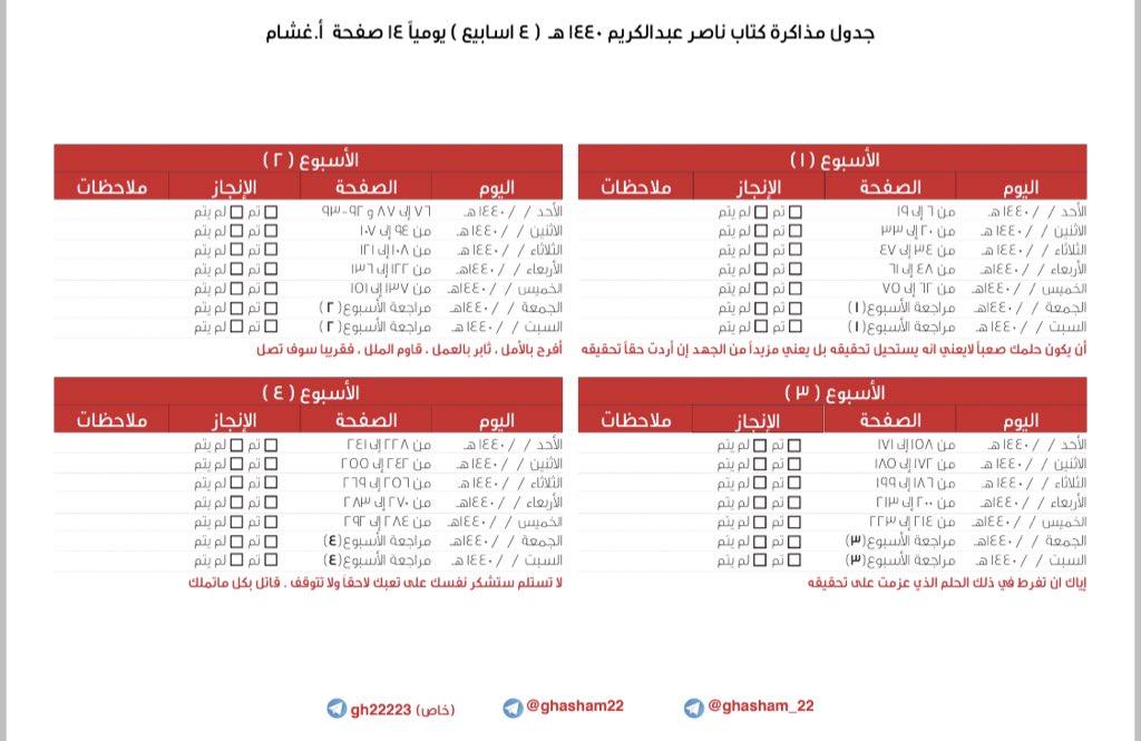 أ غشام قدرات و تحصيلي On Twitter ١ جدول لإنهاء الكتاب في أربعة أسابيع تحصيلي Daralharf