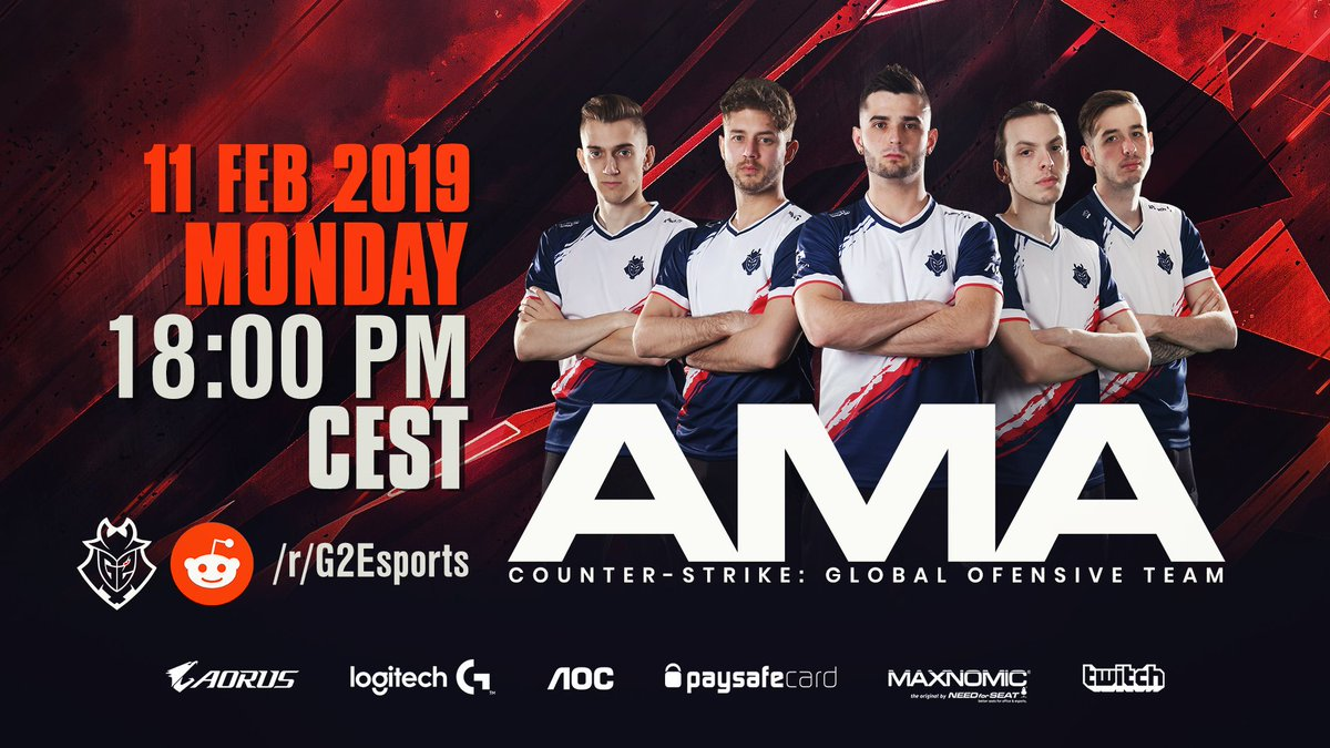 Got any burning questions ahead of #IEM Katowice?   Join us for an AMA on http://reddit.com/r/g2esports this Monday at 6PM CET with @G2kennyS @G2shox @G2bodyy @LuckyCSGO_ @JACKZ_CSGO!