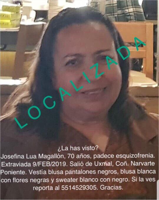 Se desactiva #AlertaPlateada pues Doña Josefina ha sido #LOCALIZADA Muchas gracias por el apoyo y RTs. #Narvarte #BenitoJuárez #CiudaddeMéxico
