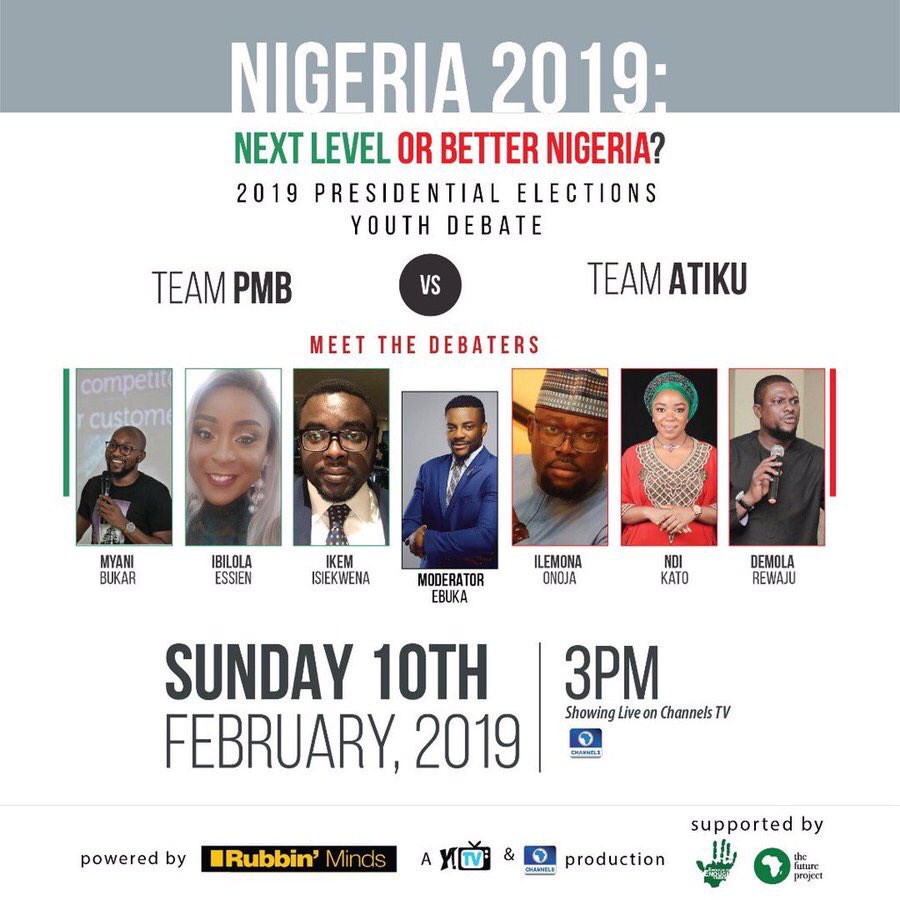 I am one of the three young people representing PDP in the Presidential Elections Youth Debate on Channels tomorrow at 3pm. Please tune in. #RubbinMinds #NigeriaDecides2019 #NigeriaDecides #AtikuObi2019 #AtikuObi<br>http://pic.twitter.com/ICHRGYXCBD