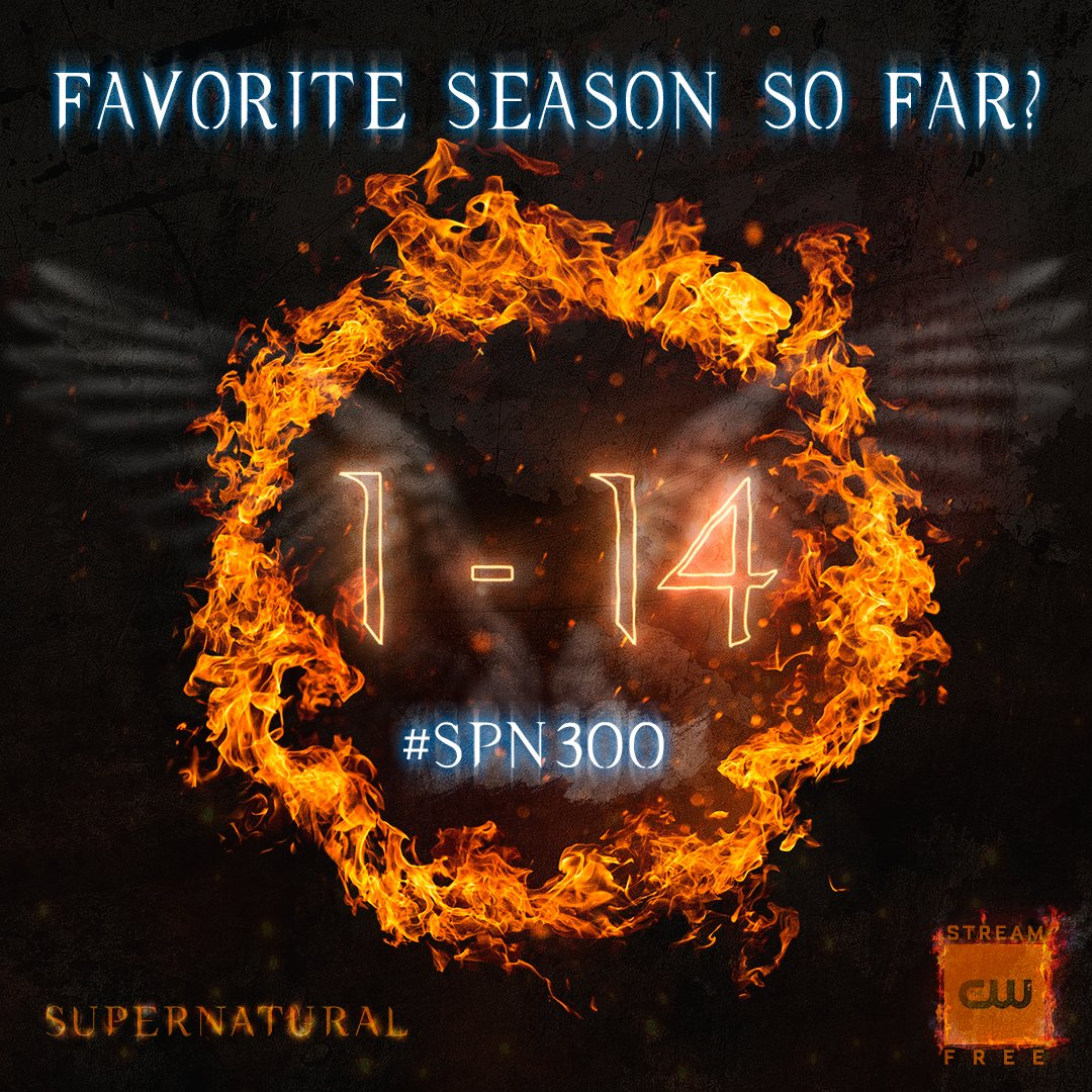 Favorite season? Stream the 300th episode NOW: https://t.co/DcVJRKqIxc #Supernatural #SPN300 #SPNFamily