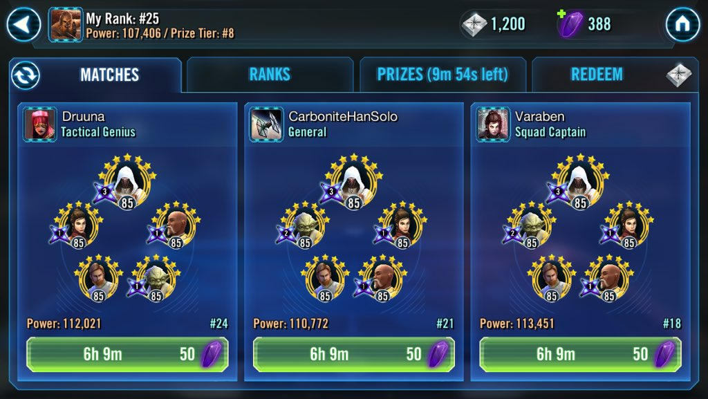 Highest I've been since the initial CLS release #SWGOH #StarWarsGalaxyofHeroes