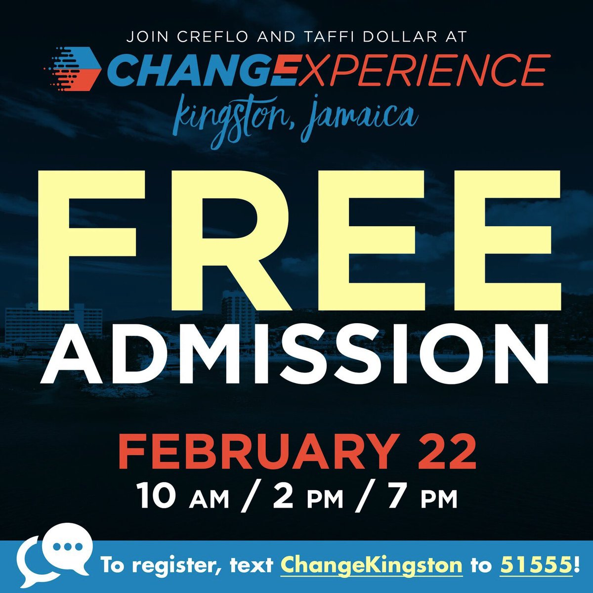 Kingston, Jamaica get ready for Change Experience 2019, Friday, 22 February, at Pegasus Hotel. We'll share three life-changing messages @ 10am, 2pm & 7pm. Register NOW! FREE event. …https://changeexperience2019kingston.eventbrite.com  #ChangeExperience2019 #WorldChangers #WorldChangersChurchInternational
