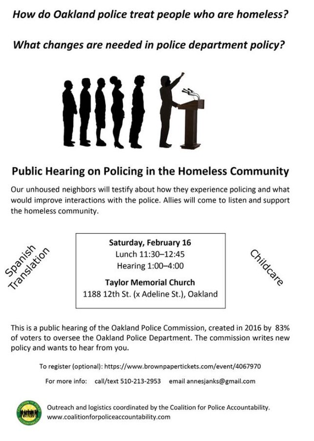 Public Hearing on Policing in the Homeless Community @ Taylor Memorial Church