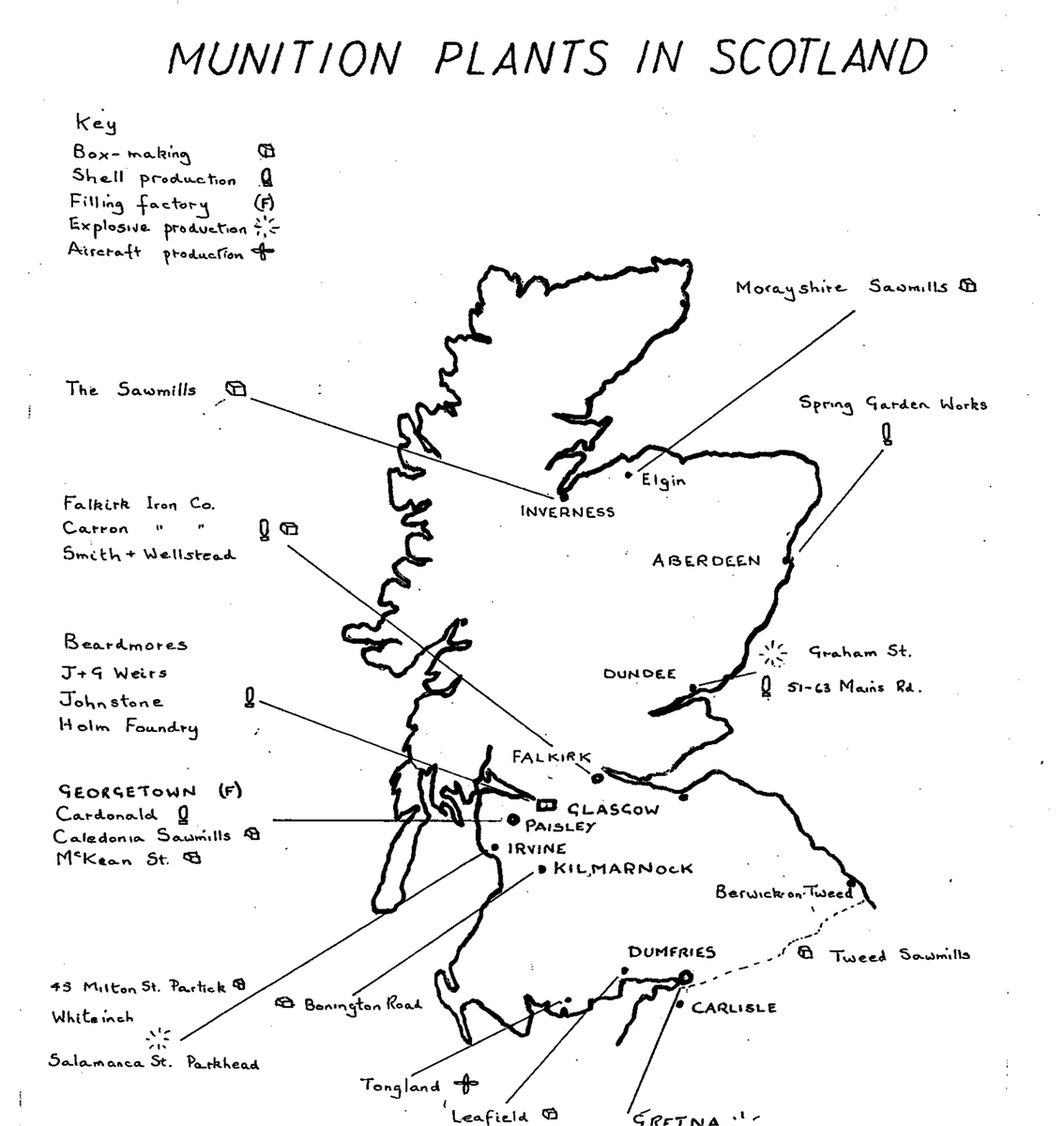 Map of munitions factories from across Scotland shared with @Devils_Porridge #vsws #ScotlandIsNow #SeeSouthScotland @I_W_M #WWI @FwwNetwork