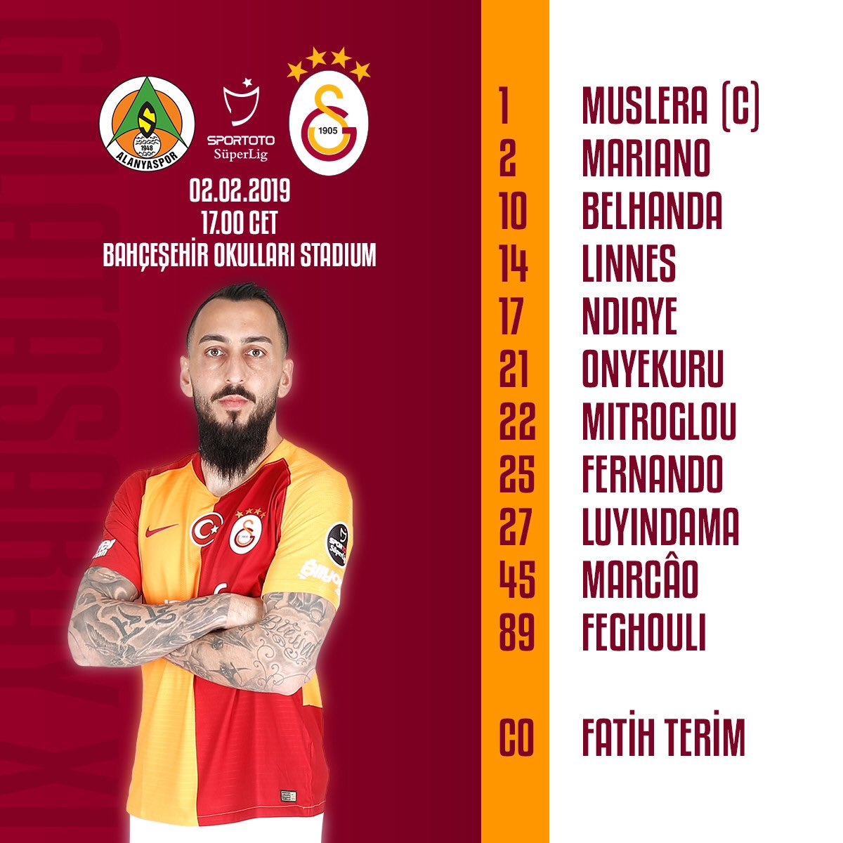 Starting eleven of the evening