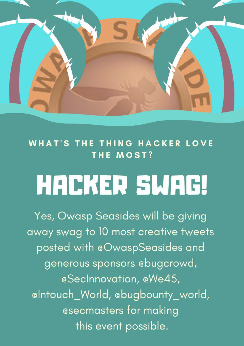 Giveaway alert @Owaspseasides #Swag giveaway  Show us some creativity and win a swag Don't forget to tag @Bugcrowd @SecInnovation @we45 @Intouch_World @owasp @secmasters @bugbounty_world  #owaspseasides #seasides #owasp