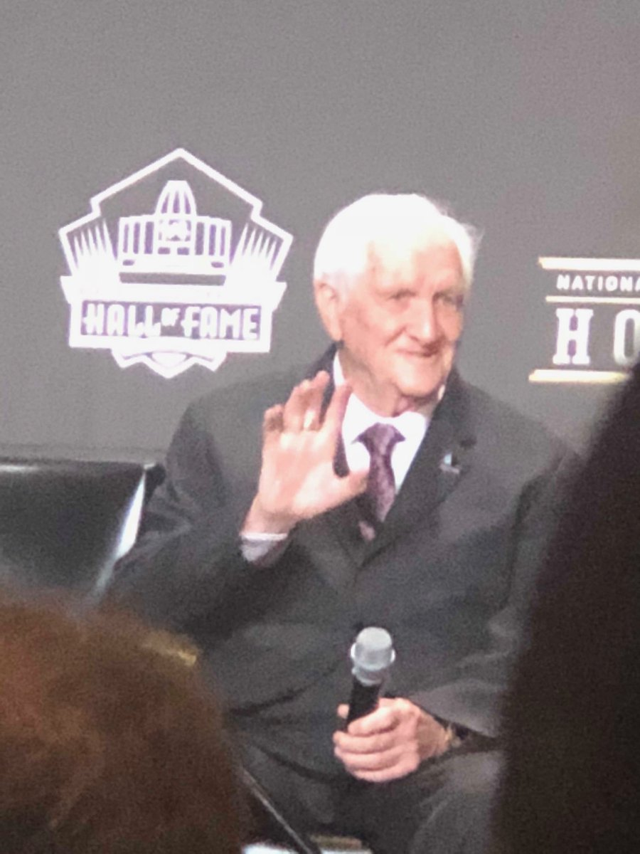 Gil Brandt takes place on stage as part of Hall of Fame Class of 2019.