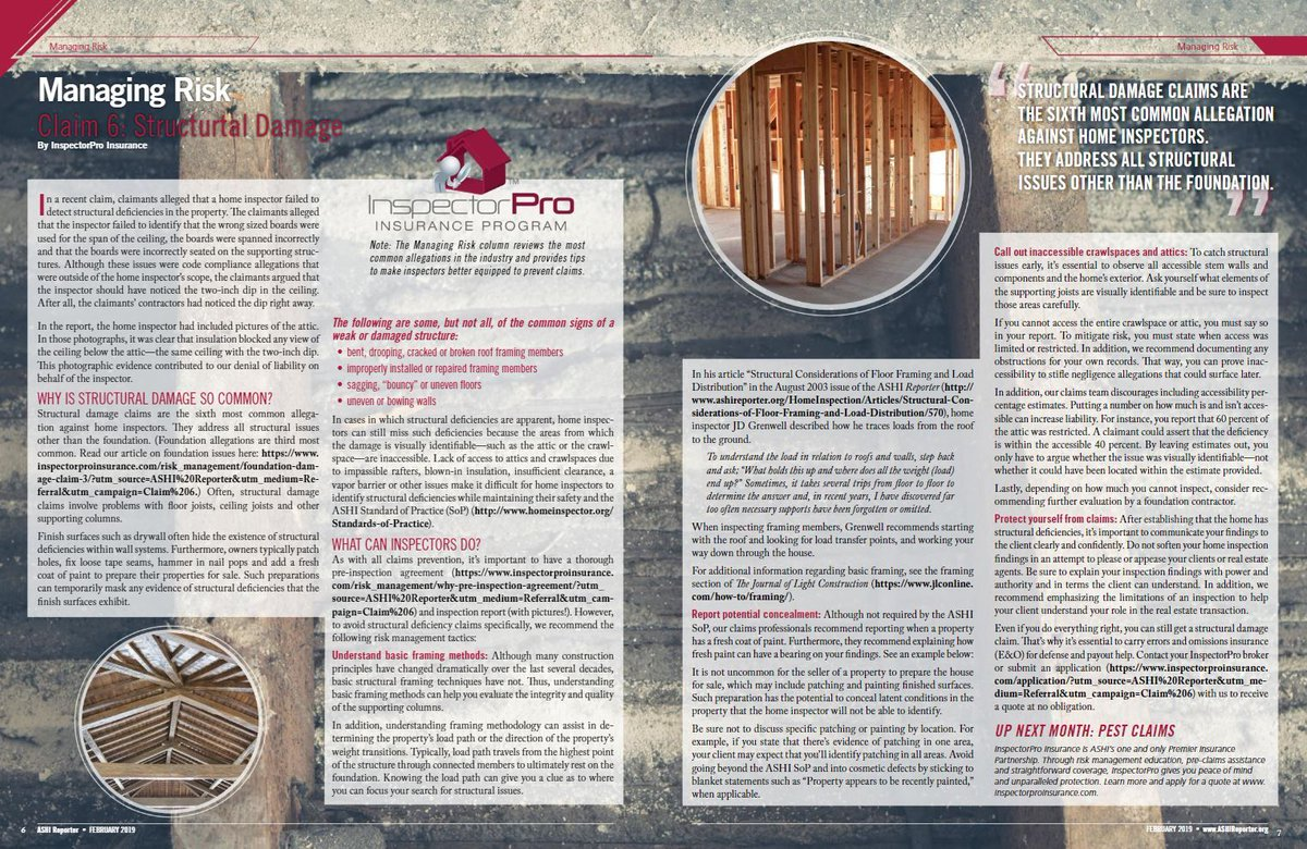 Learn about the 6th most common claim in the home inspection industry from our most recent edition of the ASHI Reporter.