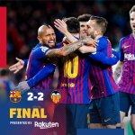 ⌛️FULL-TIME: There's the whistle! Leo Messi scores twice as Barça battle back from 2-0, first-half deficit to earn a tie!  FT: Barça 2 - 2 Valencia ⚽️ #Messi 39' (p.), 64' / Gameiro 24' , Parejo 32' (p.)  🔵🔴 #BarçaValencia