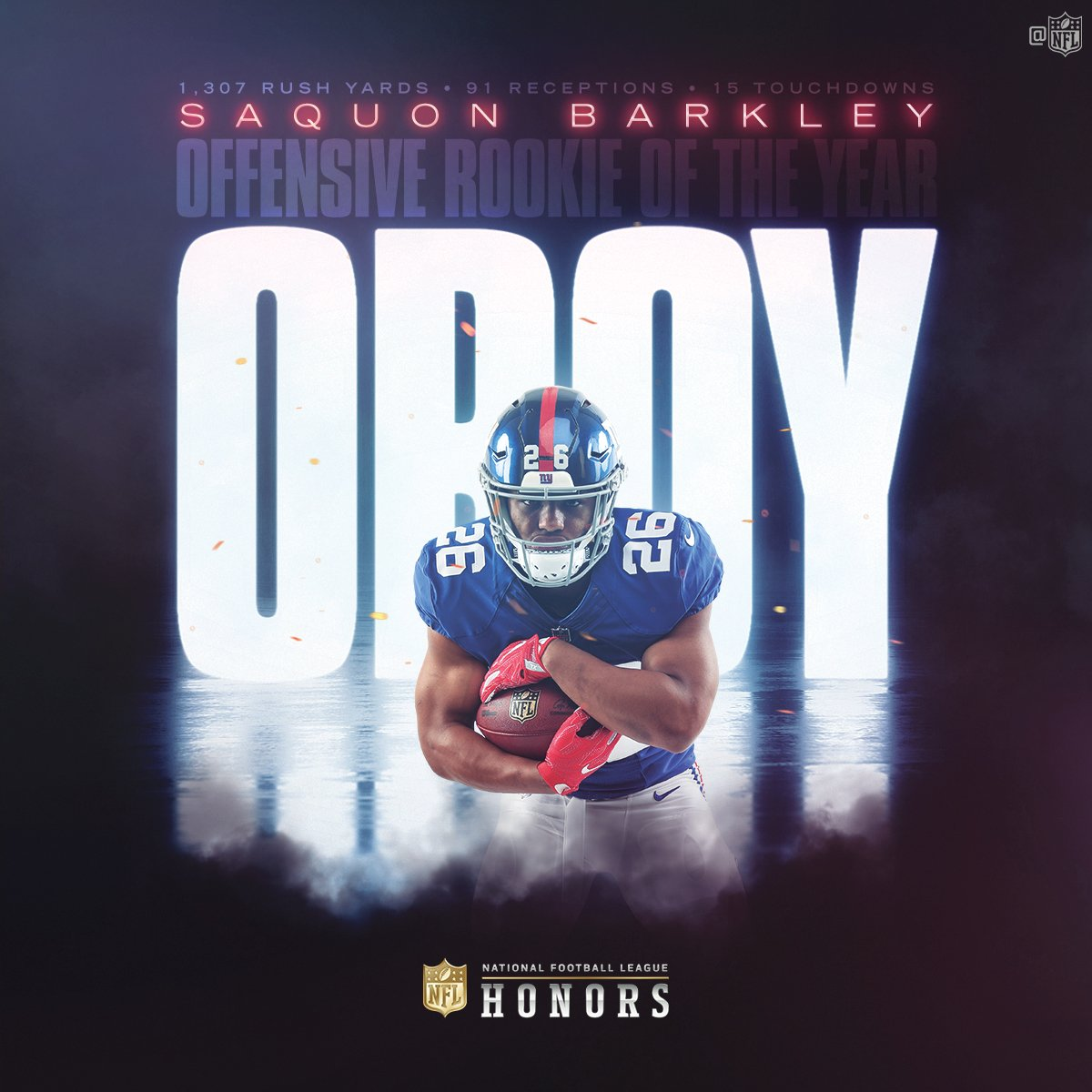 Saquon!   @Giants RB @saquon Barkley is the 2018 Offensive Rookie of the Year! #NFLHonors