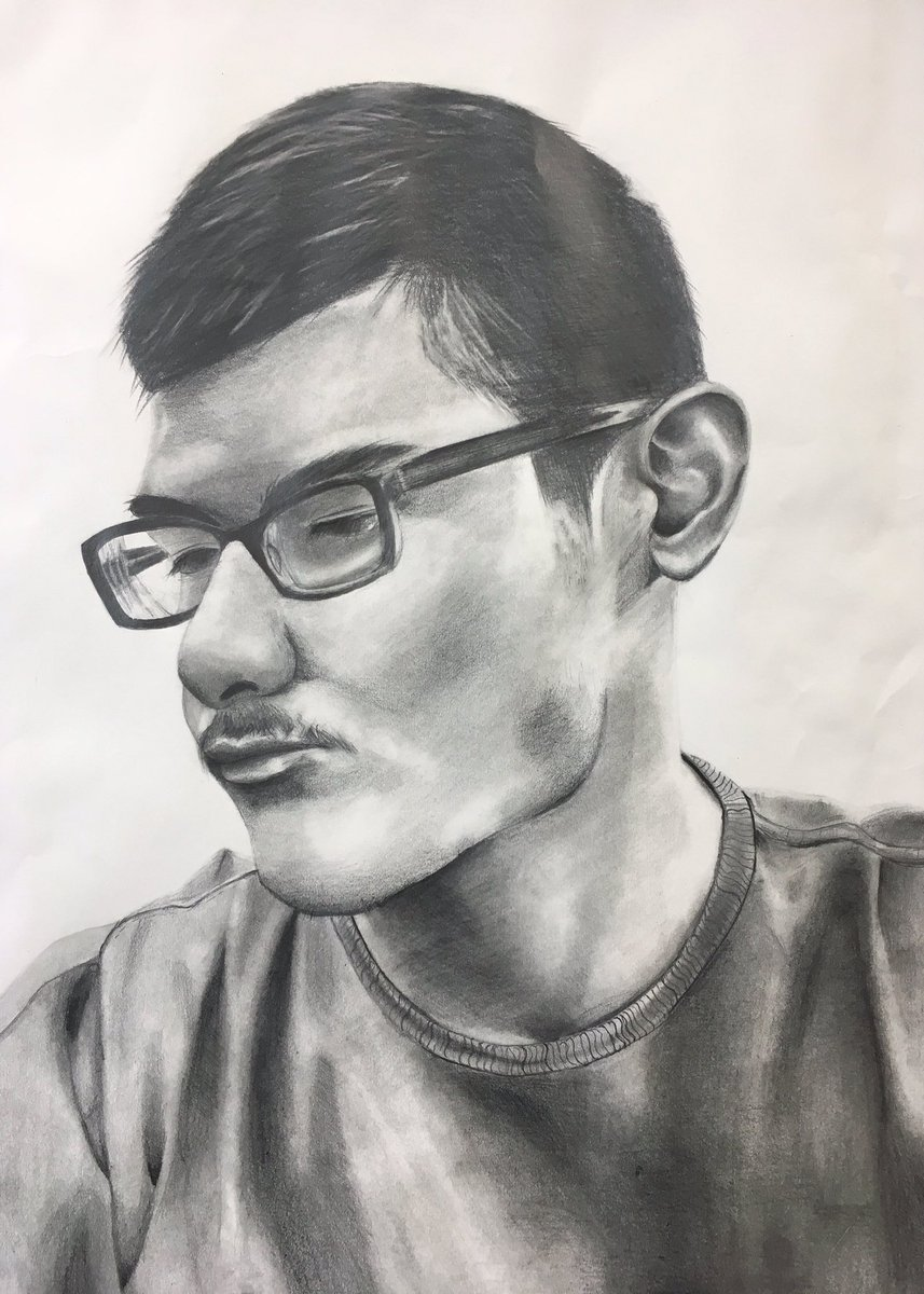 """Manual Martinez, """"Thinking About the Past"""", Graphite on paper, 2018, State Finalist #EdgewoodProud"""