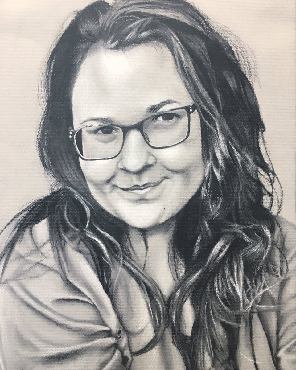 """Tracey Muzquiz, """"Happy Thoughts"""" Charcoal on toned paper, 2018 #EdgewoodProud"""