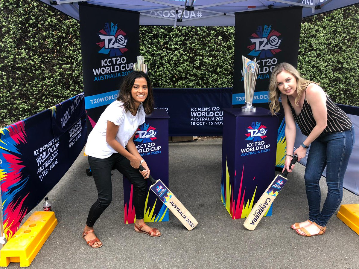 Fans getting an up-close inspection of the #T20WorldCup trophies at @ManukaOval. Canberra will host five Women's matches, including defending champions Australia.