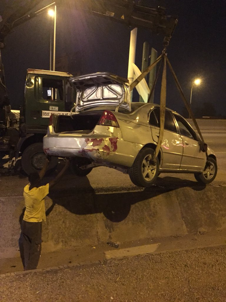 DydqtzFWkAAv Ka - Nigerian Man Calls Out President Muhammadu Buhari's Convoy For Hitting His Car Off Of The Road – Thanks Dino Melaye For Assisting Him(Pictures)