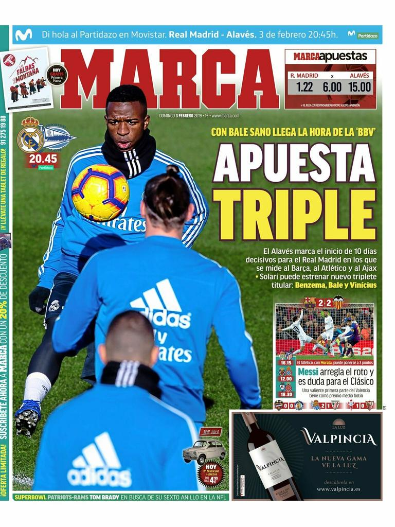 «Apuesta triple». Así titula el diario #MARCA. El#RealMadridaprieta de cara a la#CopaDelReyen la que se medirá frente alBarcelona. Antes hará una parada en el camino en el#EstadioSantiagoBernabéupara recibir al#Alavésen una nueva jornada de #LaLiga. #RMLiga #HalaMadrid
