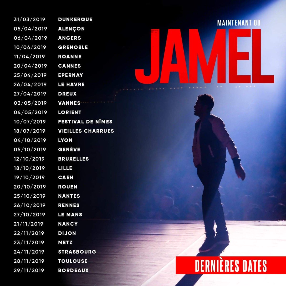 Dernières dates françaises de cette tournée de fou 🔥 #MaintenantOuJamel