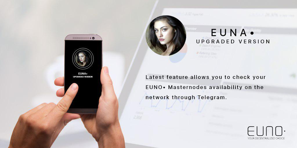We are proud to announce a new functionality for Euna! Track your Euno• masternodes and see if they are online with one simple command! Come visit our Telegram for more information https://t.co/L8G95qvlhW   $EUNO #CRYPTO #bitcoin #massadoption #blockchain #Eunoverse #masternode https://t.co/cb5xU1BR54