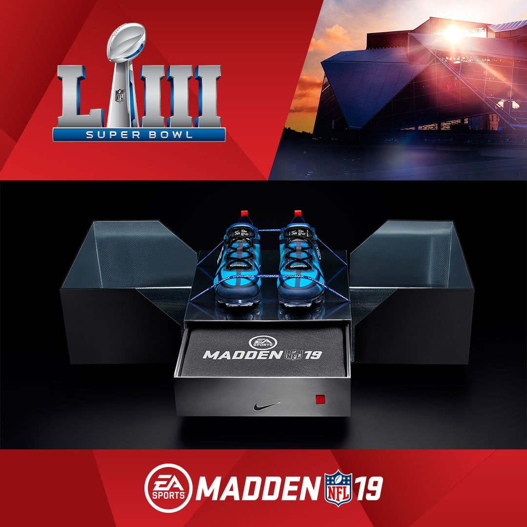 Trying to cop a pair of the exclusive Madden Air VaporMax 2019?    RT for a chance to unlock the limited-edition Madden Pack including the FUSE Showout hoodie! #SBLIII