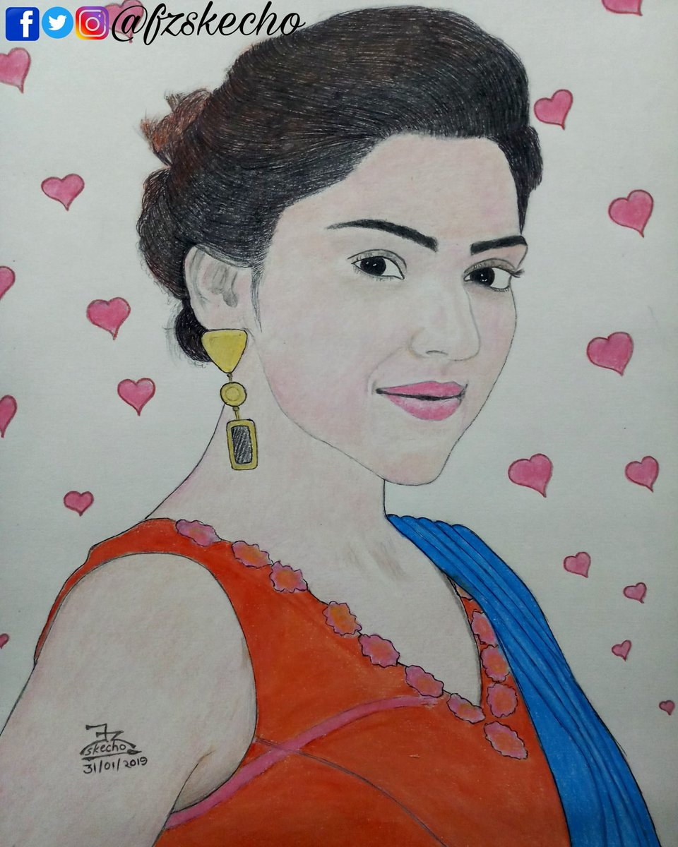 Fzskecho on twitter colour pencil sketch of the beautiful mehreenpirzada 🤩❤ hope you guys like my artwork beautiful mehreenpirzada art artist