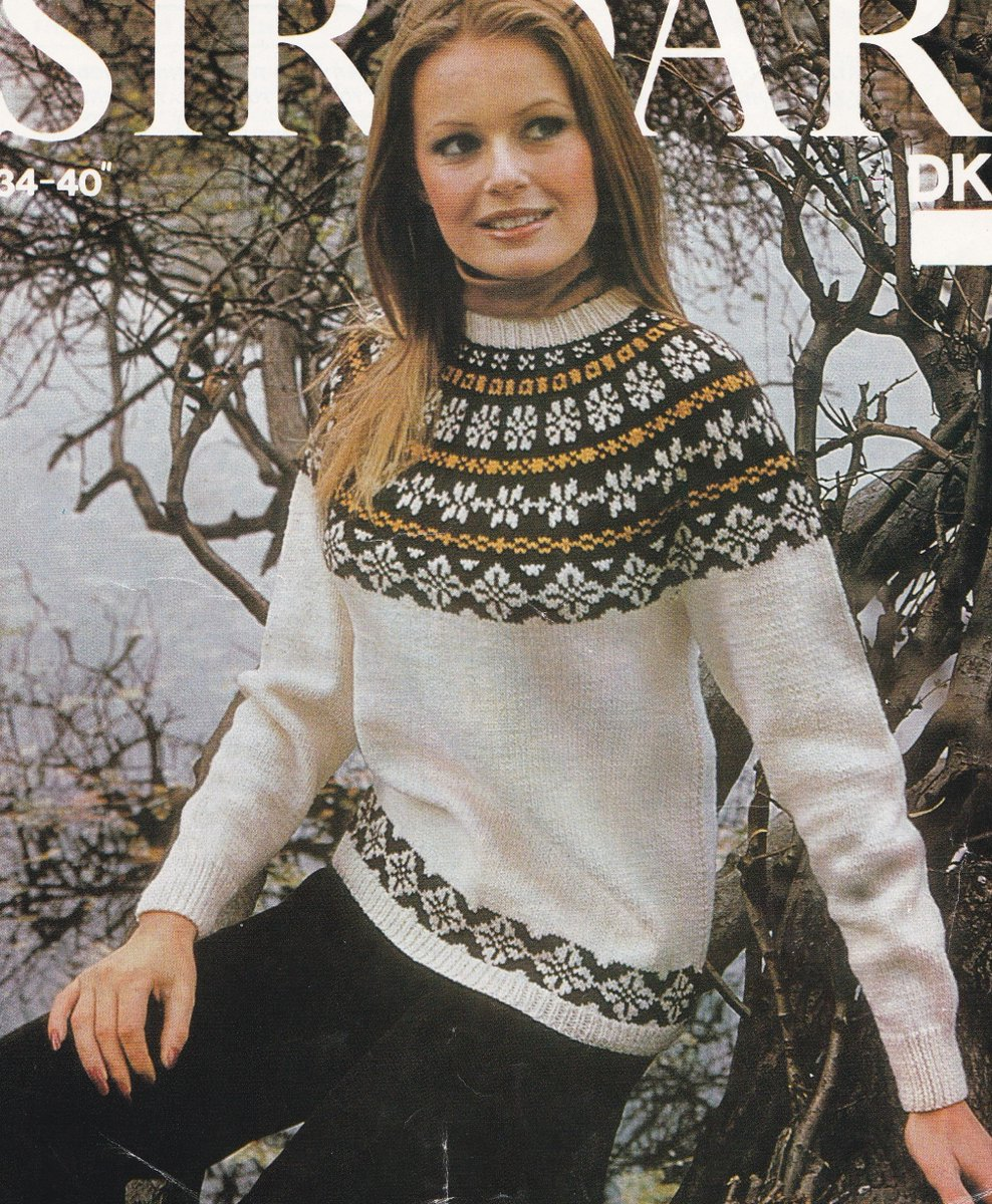 cbe789e56fa48 Womens Fair Isle Yoke Sweater Knitting Pattern PDF Ladies 34 - 36 and 38 -  40