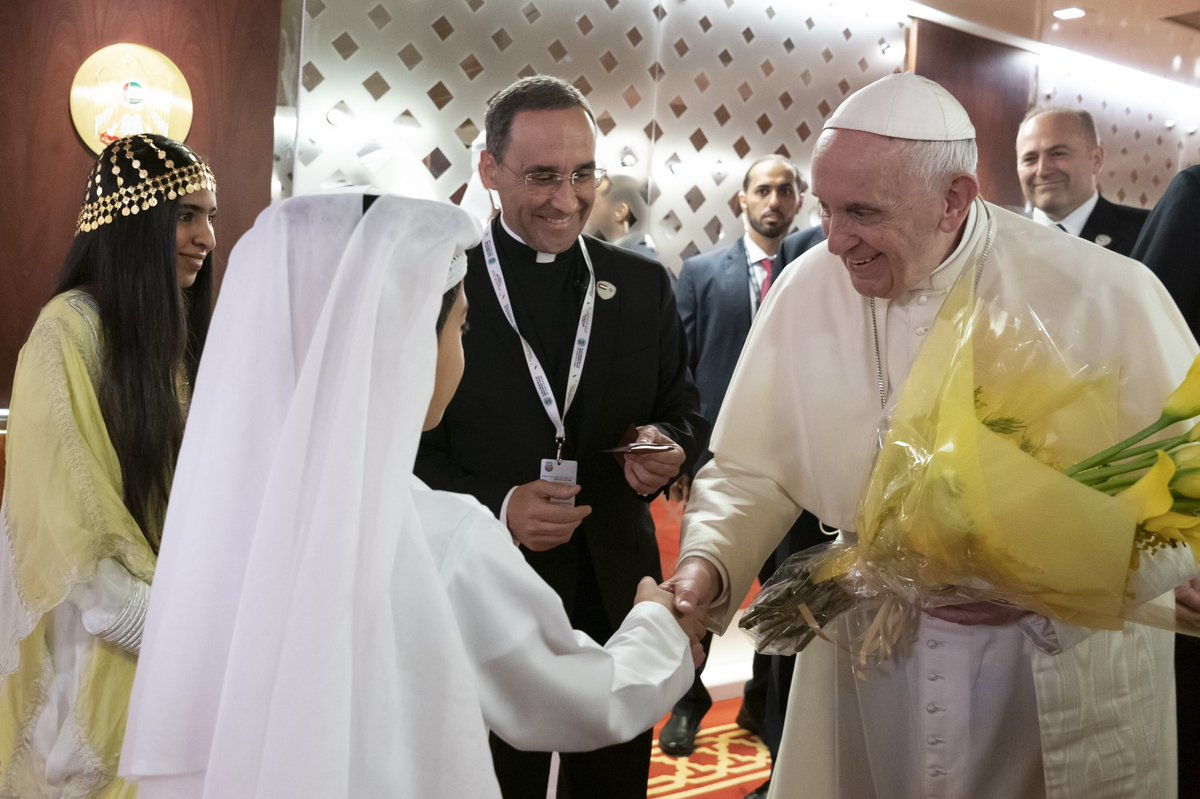 We are honoured to welcome our state guests, Pope Francis Head of the Catholic Church & Dr Ahmad Al Tayyeb Grand Imam of Al Azhar Al Sharif. The flourishing of love, tolerance is a tribute to this blessed land and Sheikh Zayed's vision of the UAE as an oasis of human coexistence.
